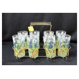 SET OF 8 DAISY JUICE GLASSES IN WIRE CARRIER -