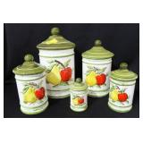 SET OF 5 CERAMIC CANISTERS WITH FRUIT MOTIF