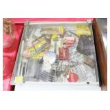 TABLE TOP DISPLAY CASE WITH SHAVING ITEMS AND