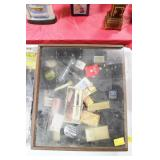 WOOD DISPLAY BOX WITH ADVERISING ITEMS: PENS,