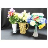3 ARTIFICIAL FLOWER ARRANGEMENTS IN VASES
