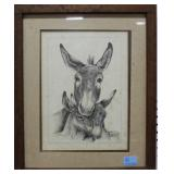 MULE WITH MULE BABIES PRINT BY JOHNNY LYNCH