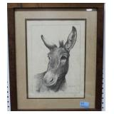 MULE PRINT BY JOHNNY LYNCH ARTIST SIGNED - FRAMED