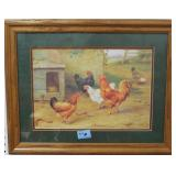 CHICKEN PRINT - FRAMED AND MATTED