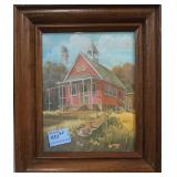 2 PRINTS: SCHOOL HOUSE AND GENERAL STORE FRAMED