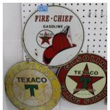 3 ROUND TEXACO TIN SIGNS