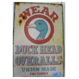 DUCK HEAD OVERALLS ADVERTISING TIN SIGN
