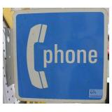 "DOUBLE SIDED - POST HANGING - ""PHONE"" TIN SIGN"