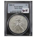 2008-W SILVER EAGLE - PCGS GRADED MS69