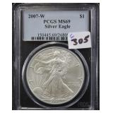 2007-W SILVER EAGLE - PCGS GRADED MS69