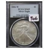 2006-W SILVER EAGLE - PCGS GRADED MS69