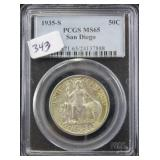 1935-S SAN DIEGO HALF DOLLAR - PCGS GRADED MS65