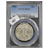 1942 WALKING LIBERTY HALF DOLLAR - PCGS GRADED