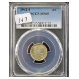 1942-S MERCURY DIME - PCGS GRADED MS65