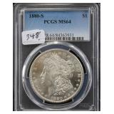 1880-S MORGAN SILVER DOLLAR - PCGS GRADED MS64