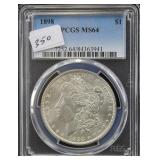 1898 MORGAN SILVER DOLLAR - PCGS GRADED MS64