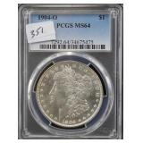 1904-O MORGAN SILVER DOLLAR - PCGS GRADED MS64