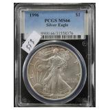 1996 SILVER EAGLE - PCGS GRADED MS66