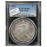 1999 SILVER EAGLE - PCGS GRADED MS68