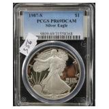 1987-S SILVER EAGLE - PCGS GRADED PR69DCAM