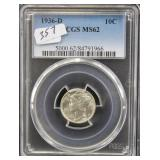 1936-D MERCURY DIME - PCGS GRADED MS62