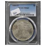 1884-O MORGAN SILVER DOLLAR - PCGS GRADED MS63