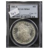 1881-S MORGAN SILVER DOLLAR - PCGS GRADED MS64