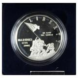 MARINE CORPS 230TH ANNIVERSARY SILVER DOLLAR IN