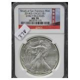2014-S SILVER EAGLE - EARLY RELEASE - NGC GRADED