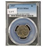 1937 BUFFALO NICKLE - PCGS GRADED MS64