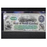1873 STATE OF SOUTH CAROLINA $2 NOTE