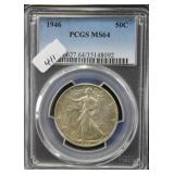 1946 WALKING LIBERTY SILVER HALF DOLLAR - PCGS