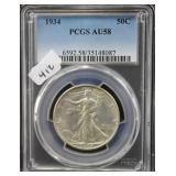 1934 WALKING LIBERTY SILVER HALF DOLLAR - PCGS