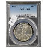 1941-D WALKING LIBERTY SILVER HALF DOLLAR - PCGS
