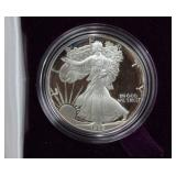 1989 SILVER EAGLE IN PRESENTATION BOX WITH COA