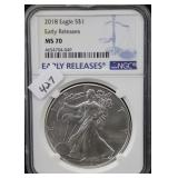 2018 SILVER EAGLE - EARLY RELEASE - NGC GRADED