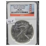 2011-S SILVER EAGLE - EARLY RELEASE - NGC GRADED