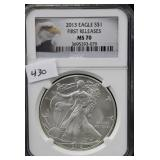 2013 SILVER EAGLE - FIRST RELEASE - NGC GRADED