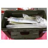 METAL ARMY AMMO CAN WITH ASSORTED PARTS AND