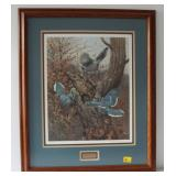 BLUE JAYS AND OWL BY OWEN J GROMME SIGNED 343/500
