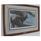 MULE DEERE IN WINTER BY ROBERT BATEMAN SIGNED