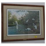EGRETS BELOW THE BRIDGE BY OWEN GROMME SIGNED