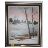 MT YPSLON IN WINTER BY E. VAN BAREN SIGNED