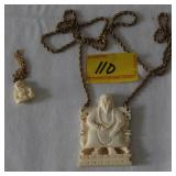 2 IVORY STYLE BUDDA PINDENTS AND NECKLACE