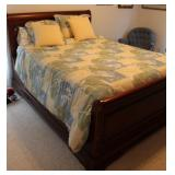 SUMTER QUEEN SIZE BED, BEDDING, TV CABINET,