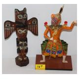 "11"" TOTEM POLE AND ORIENTAL SWORD MAN"