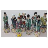 8PC GLASS ORIENTAL FIGURES