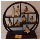 8PC GLASS ORIENTAL FIGURES AND STAND