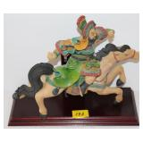 CLAY HORSE WITH ORIENTAL RIDER