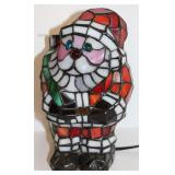 "9 1/2"" STAINED GLASS SANTA LAMPO"